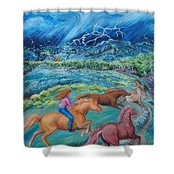 Racing The Lightning Home Shower Curtain by Dawn Senior-Trask
