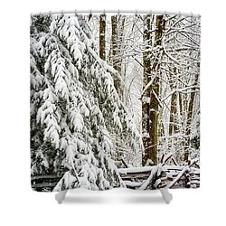 Shower Curtain featuring the photograph Rail Fence And Snow by Thomas R Fletcher