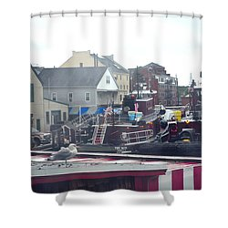 Shower Curtain featuring the photograph Nor' Easter At Portsmouth by Richard Ortolano