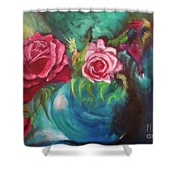 Roses One Of A Kind Handmade Shower Curtain