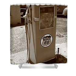 Route 66 Gas Pump Shower Curtain by Frank Romeo