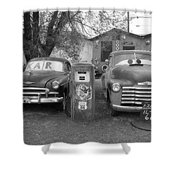 Route 66 - Snow Cap Drive-in Shower Curtain by Frank Romeo
