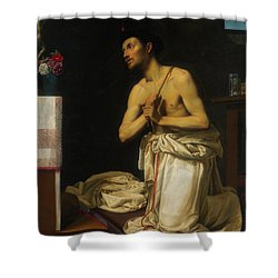 Shower Curtain featuring the painting Saint Dominic In Penitence by Filippo Tarchiani
