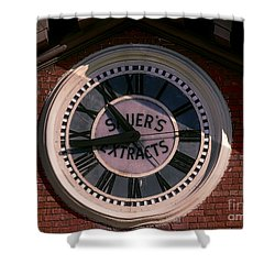 Shower Curtain featuring the photograph Sauer Company Clock by Melissa Messick