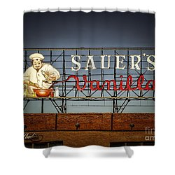 Shower Curtain featuring the photograph C.f.sauers Signage by Melissa Messick