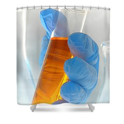 Scientific Experiment In Science Research Lab Shower Curtain by Olivier Le Queinec