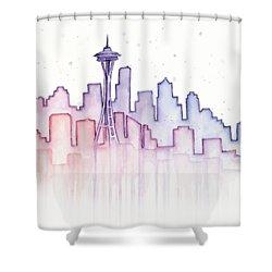 Seattle Skyline Watercolor Shower Curtain by Olga Shvartsur