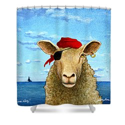 Sheep Ahoy Shower Curtain by Will Bullas