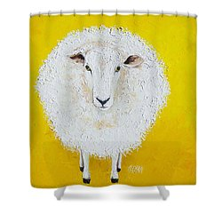 Sheep Painting On Yellow Background Shower Curtain