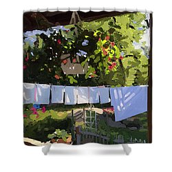 Sheets And Pillow Cases On The Line With Lantana Flowers Shower Curtain