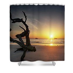 Shrimp Boats And Driftwood Shower Curtain
