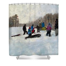 Snow Day Shower Curtain by Claire Bull