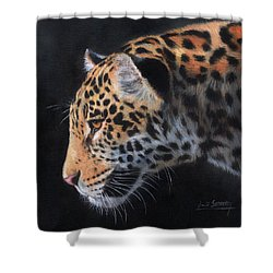 Shower Curtain featuring the painting South American Jaguar by David Stribbling