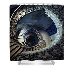Spiral Staircase With Ornamented Handrail Shower Curtain by Jaroslaw Blaminsky