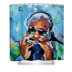 Shower Curtain featuring the painting Stevie Wonder by Richard Day