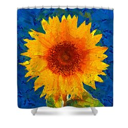 Shower Curtain featuring the painting Sunflower by Elizabeth Coats