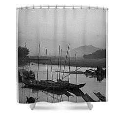 sunset at Mae Khong river Shower Curtain by Setsiri Silapasuwanchai