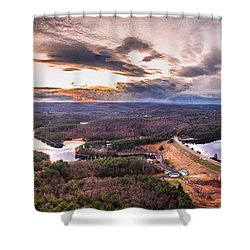 Sunset At Saville Dam - Barkhamsted Reservoir Connecticut Shower Curtain by Petr Hejl