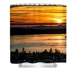 Shower Curtain featuring the photograph Sunset Over Hail Passage On The Puget Sound by Rob Green