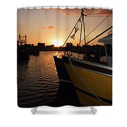 Sunset Over Sutton Harbour Plymouth Shower Curtain by Chris Day