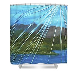 Shower Curtain featuring the mixed media Sunshine Over Boise by Angela Stout