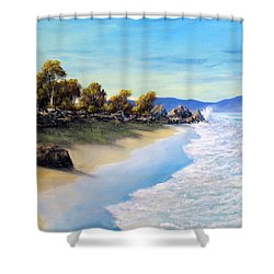Surf Surge Shower Curtain by John Cocoris