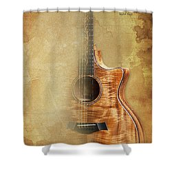 Taylor Inspirational Quote, Acoustic Guitar Original Abstract Art Shower Curtain by Pablo Franchi
