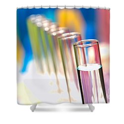 Shower Curtain featuring the photograph Test Tubes In Science Lab by Olivier Le Queinec
