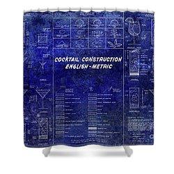 The Cocktail Construction Blueprint Shower Curtain by Jon Neidert