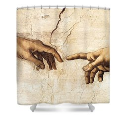 The Creation Of Adam Shower Curtain by Michelangelo