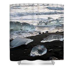 Shower Curtain featuring the photograph The Diamond Beach, Jokulsarlon, Iceland by Dubi Roman