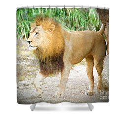 Shower Curtain featuring the painting The Lion King by Judy Kay
