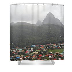 Shower Curtain featuring the photograph The Pilons by Gary Wonning