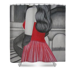 The Red Dress Shower Curtain