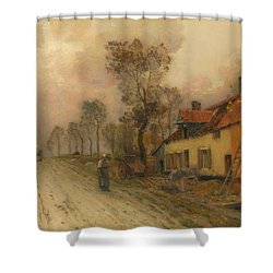 Shower Curtain featuring the painting The Route Nationale At Samer by Jean-Charles Cazin