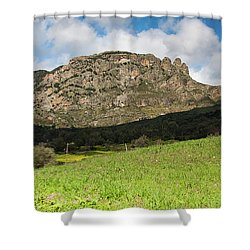 The Three Finger Mountain Shower Curtain by Bruno Spagnolo