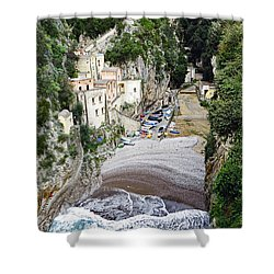 This Is A View Of Furore A Small Village Located On The Amalfi Coast In Italy  Shower Curtain