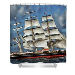 Three Mast Schooner Shower Curtain by Anthony Dezenzio