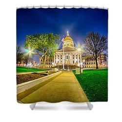 Topeka Kansas Downtown At Night Shower Curtain