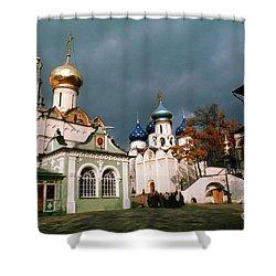 Trinity Lavra Of St. Sergius Monastery Sergiev Posad Shower Curtain by Wernher Krutein