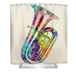Tuba Abstract Watercolor Shower Curtain