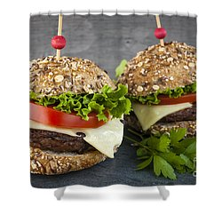 Two Gourmet Hamburgers Shower Curtain by Elena Elisseeva