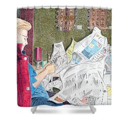 Shower Curtain featuring the drawing Unwrap by Yoshiko Mishina