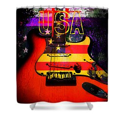 Shower Curtain featuring the photograph Usa Strat Guitar Music by Guitar Wacky