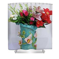 Vase, Rose Calla Shower Curtain