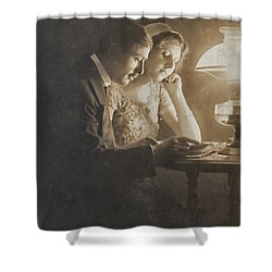 Vintage Loving Couple Reading With Oil Lamp Shower Curtain