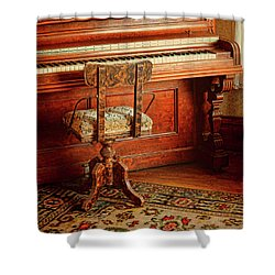 Shower Curtain featuring the photograph Vintage Piano by Jill Battaglia