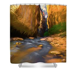 Virgin River - Zion National Park Watercolor Shower Curtain