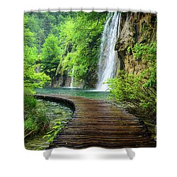 Walking Through Waterfalls - Plitvice Lakes National Park, Croatia Shower Curtain