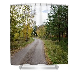 Shower Curtain featuring the photograph Winding Gravel Road by Kennerth and Birgitta Kullman